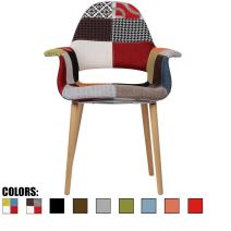 2xhome Upholstered Mid Century Modern Dining Arm Chair with Natural Wood Legs, Patchwork S,1 piece