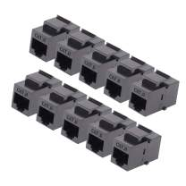 RJ45 Keystone Coupler - 10Pack iGreely Cat6 Cat5e Cat5 Compatible 8P8C Ethernet Network Jack Insert Snap in Adapter Connector Port Inline Coupler for Wall Plate Outlet Panel - Black