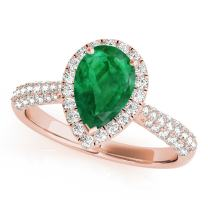 MauliJewels 1 Ct. Ttw Diamond and Pear Shaped Emerald Ring in 10K Rose Gold