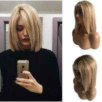 """Ombre Lace Front Wig 14"""" Straight Bob Wigs Pre Plucked with Baby Hair 150% Density Glueless Brazilian Human Hair Bleached Knots #4 Fading to #12 and 613 Blonde Layered Balayage for White Women"""