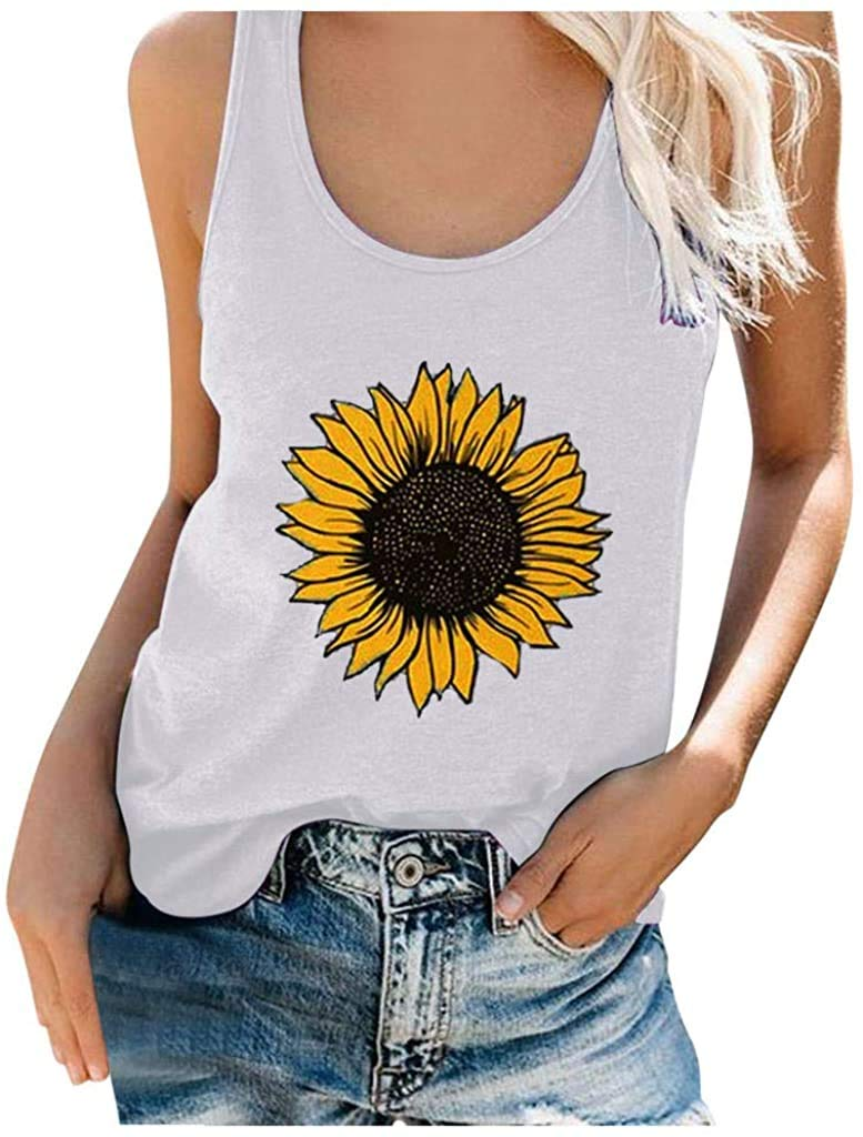 Fadalo Sunflower Tank Tops for Women Loose Fit Sunflower Print Crew Neck Funny Cute Graphic T-Shirts Sleeveless Tee Tops