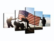 Military Family Canvas Wall Art Silhouette of Troops on American Flag Background Painting Modern Posters and Prints Pictures for Living Room, Home Decor Gallery-wrapped Canvas Art Set 5 Piece Framed