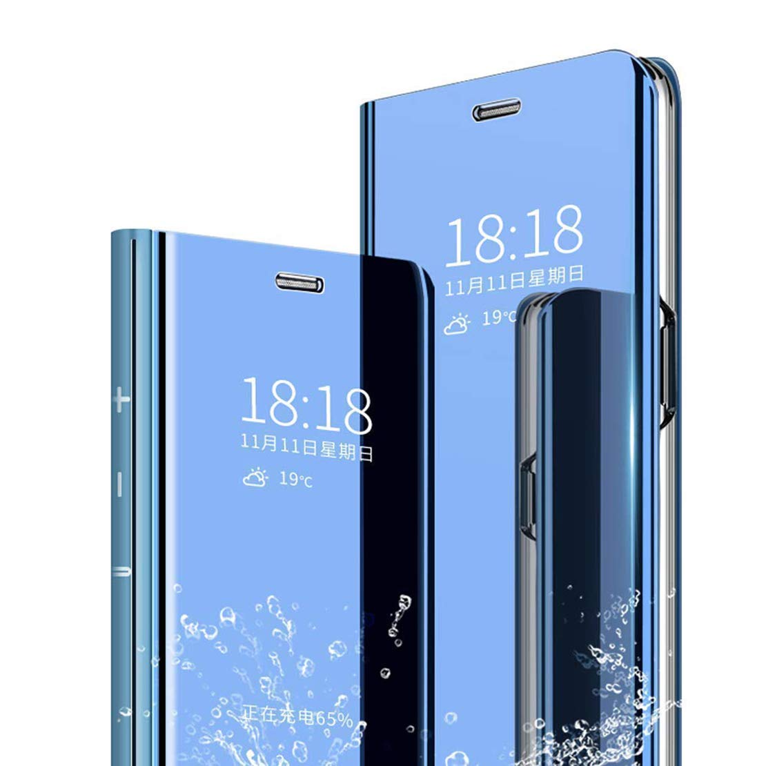 LANYOS Compatible iPhone 11 Flip Case,Full Body Protection Clear S-View Mirror Hard PC Electroplate Plating Cover Built in Kickstand (6.1 inch 2019) (Blue)