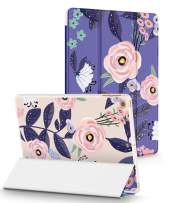 GVIEWIN Designed for iPad 9.7 Case 2018/2017, Slim iPad Cover with 3D Printing Pattern Magnetic Auto Sleep/Wake for iPad 5th/6th Generation(Glamorous Rose/Purple)