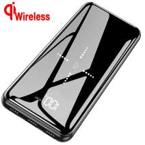 Portable Charger Wireless Power Bank 25000mAh - High Capacity with LCD Digital Display,3 USB Output & Dual Input External Battery Pack Compatible Smart Phones,Android Phones,Tablet and More (Black)