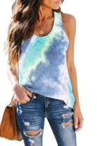 SAUKOLE Women's Sleeveless Yoga Workout Tank Tops Cute Printed Loose Fit Running Exercise T-Shirt