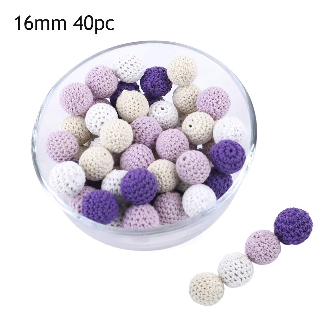 Promise Babe 16mm 40pc DIY Wooden Crochet Beads Purple Series Baby Teether Toys Safety Crochet Covered Beads Nursing Necklace Bracelet Jewelry Accessories