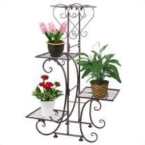 Moutik Metal Garden Plant Stands:Outdoor Holder Tiered Display 4 Tier Plants Patio Flower Holder Decor Pots Plant Stand Bronze