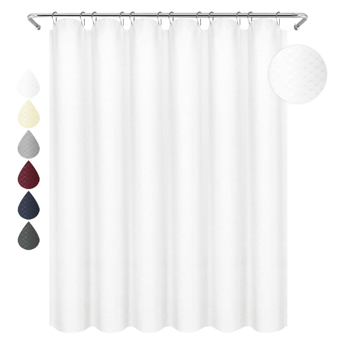 Eforgift Easy Care 100 Polyester Shower Curtain Water Repellent Thick White Waffle Weave Fabric Curtain Bath Long Size 72 Inch X 78 Inch Home Hotel Decor