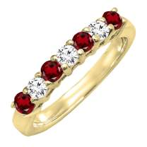 Dazzlingrock Collection 14K 2.5 MM Each Round Gemstone & White Diamond Ladies Stackable Wedding Band, Yellow Gold