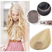 """Clip in Hair Topper for Women Human Hair Silk Base Crown Toupee Hand-made Top Hairpieces PU Around Wiglet Middle Part with Thinning Hair(12"""", Bleach Blonde #613)"""