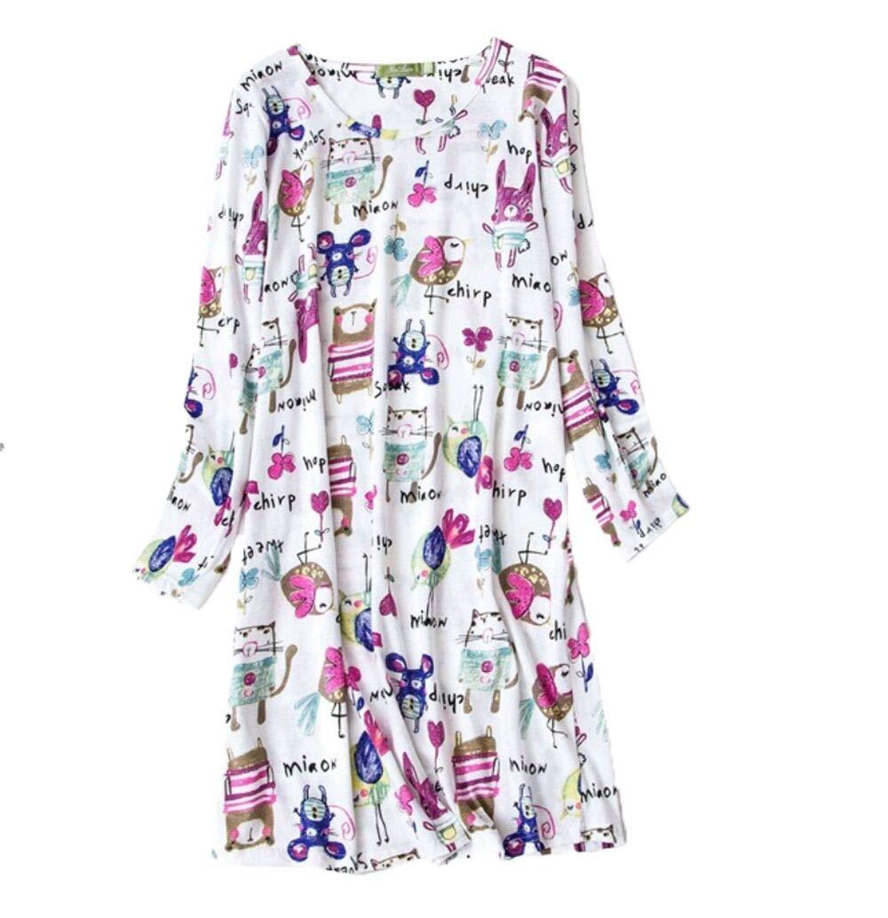 PNAEONG Women's Cotton Sleepwear Long Sleeves Nightgown Print Tee Sleep Dress