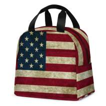 American US Flag Lunch Bag, Reusable Cool Lunch Box Insulated Kids Cooler Tote Bag Multi-functional School Lunch Container for Teen Boys Girls (Red)