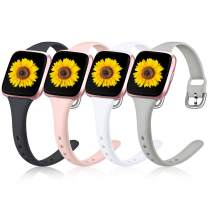 Wepro 4 Pack Slim Bands Compatible with Fitbit Versa 2/Fitbit Versa/Versa Lite/Versa SE for Women Men, Replacement Wristband Accessory for Fitbit Versa, Small, Black, Pink, Gray. White