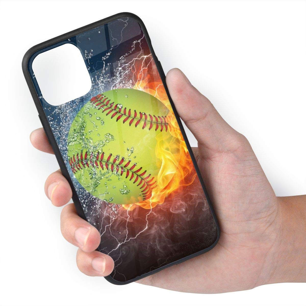 TMVFPYR Fire Softball Case for iPhone 11 Pro Max, TPU Soft-Edge Scratch-Resistant Protective Hard Case with Bullet-Proof Glass