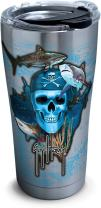 Tervis 1263310 Guy Harvey Pirate Skull Stainless Steel Tumbler with Clear and Black Hammer Lid 20oz, Silver