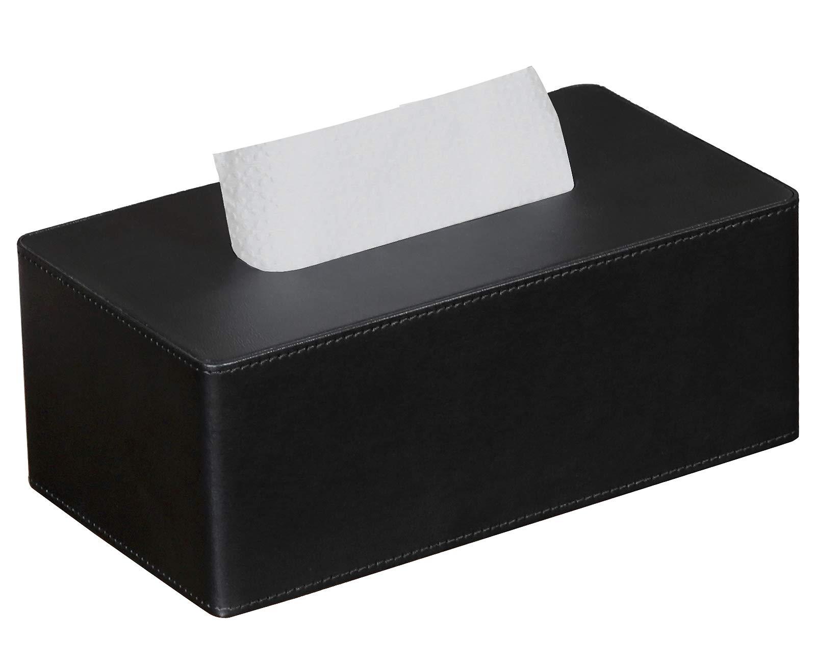 GOLRANLYE Tissue Box Cover Rectangular PU Leather Facial Tissue Dispenser Box Holder for Dresser Bathroom Decor (Black)