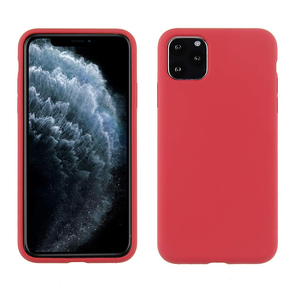 Cube Compatible with iPhone 11 Pro Max Case - Rose Red Silky Smooth Impact Resistant Silicone with Textured Microfiber Inside Lining with 360º Protection