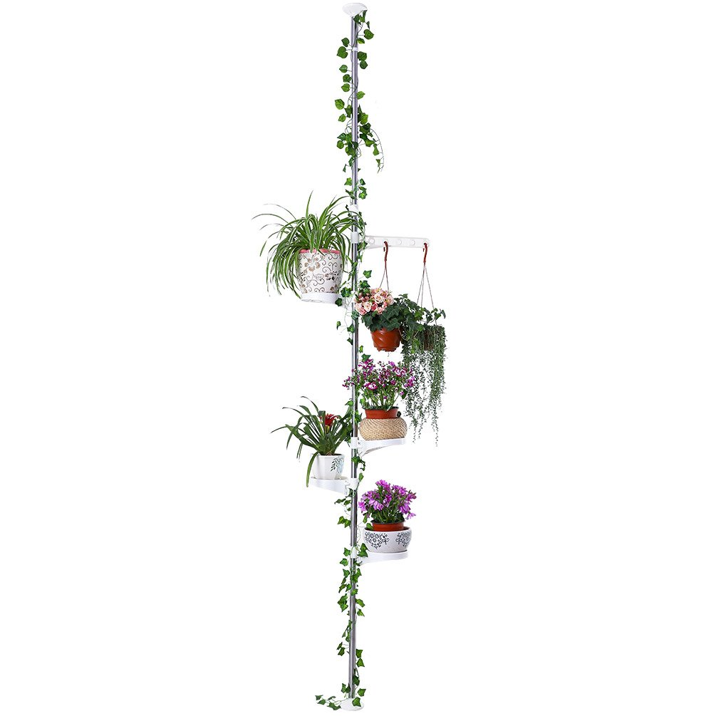 Baoyouni 5-Tier Tension Rod Plant Holder Pole, Flower Display Stand Rack Stainless Steel Decorative Shelf, Ivory