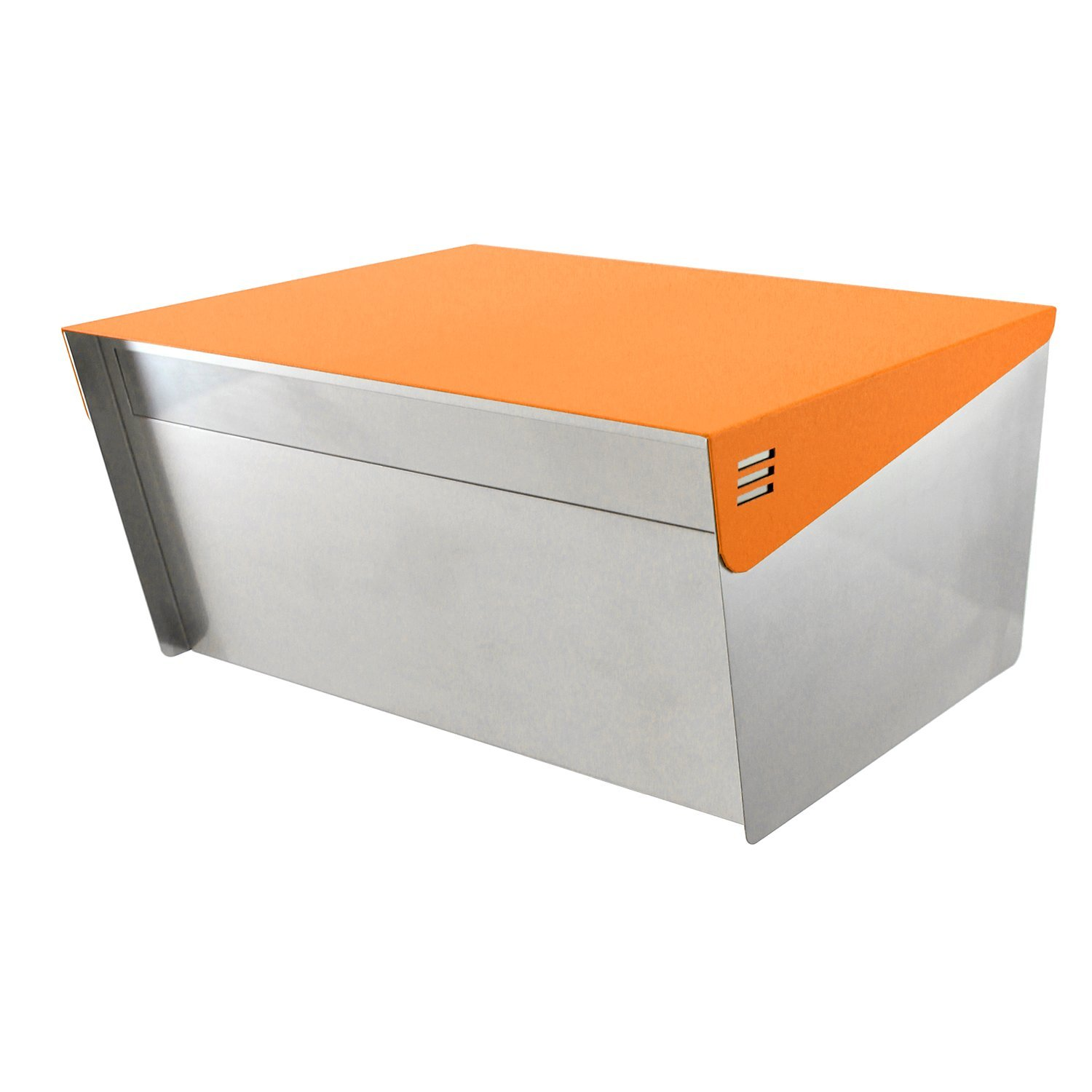 """KATANABOX Wide DR - Stainless Steel Post Mount Modern Design Mailbox with Lock and Key Extra Large Letterbox Rust Proof for Modern Home House Apartment Rural Roadside 12"""" x 15"""" x 8"""" (Orange)"""