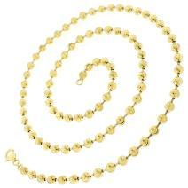 925 Italian Sterling Silver 2mm - 6mm Ball Bead Moon Cut Chain, FREE Microfiber Cloth, Yellow Gold Dog Tag Solid Necklace, Giorgio Bergamo