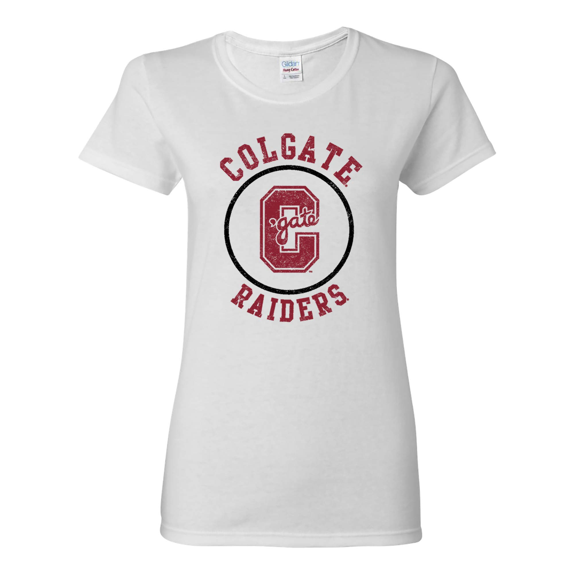 NCAA Distressed Circle Logo, Team Color Womens T Shirt, College, University