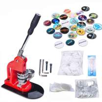 Seeutek Button Maker Machine Button Badge Maker 1 inch 25mm with 500 Pcs Button Parts and 1 inch 25mm Circle Cutter