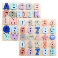 GEMEM Wooden Alphabet Chunky Puzzles Set ABC Upper Case Letter and Number Wood Montessori Learning Board Educational Toys for Toddlers Boys Girls Pack of 2