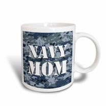 3dRose Navy Mom Blue Camouflage Magic Transforming Mug, 11-Ounce