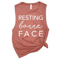 Spunky Pineapple Resting Barre Face Funny Barre Muscle Tanks