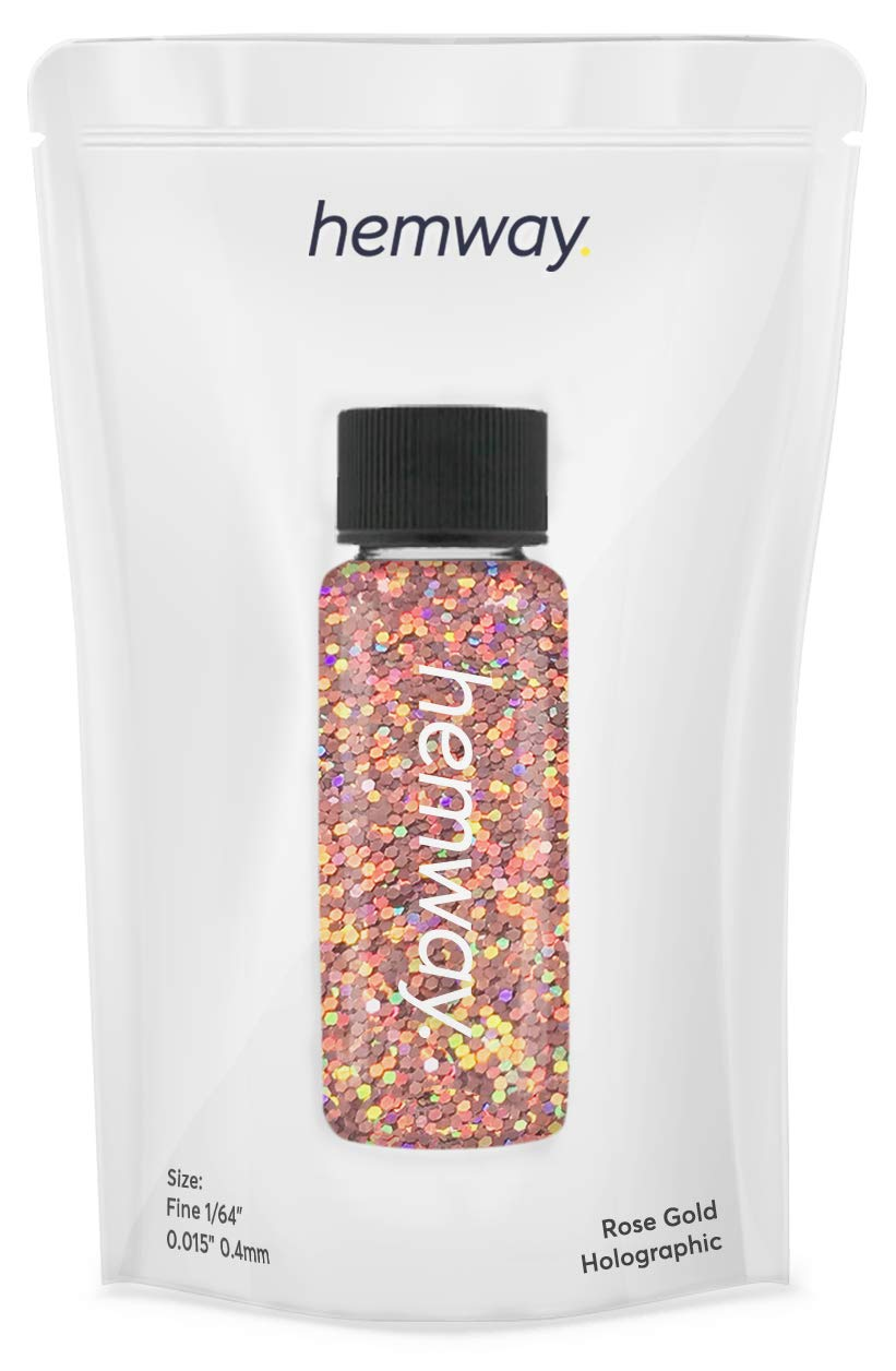 """Hemway Glitter Tube 12.8g / 0.45oz Extra Chunky 1/64"""" 0.015"""" 0.4MM Premium Sparkle Gel Nail Dust Art Powder Makeup Pigment Eyeshadow Face Body Eye Cosmetic Safe-(Rose Gold Holographic)"""