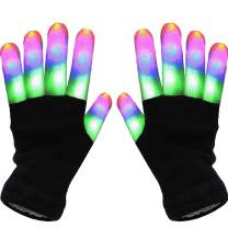 2 Pairs LED Gloves for Kids 5 Colors 6 Modes LED Finger Glow In The Dark Party Supplies Ugly Xmas Costume Light Up Gloves Novelty Light Up Toys for Boys Girls Christmas Stocking Stuffer for Kids