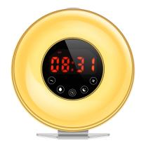 AMIR Wake-Up Light Beside Lamp Alarm Clock with Sunrise Simulation, 6 Natural Sounds, Touch Sensor Multicolor Dimmable Night Light