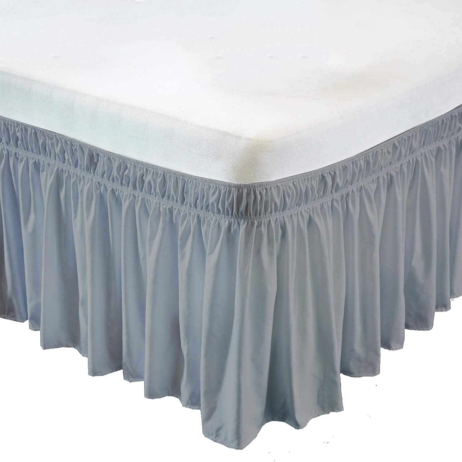 Wrap Around Bed Skirt- 24 Inch Drop Length Style Easy Fit Elastic Bed Ruffles Bed-Skirt Wrinkle Free Bed Skirt - Light Grey, King in All Bed Sizes and Colors