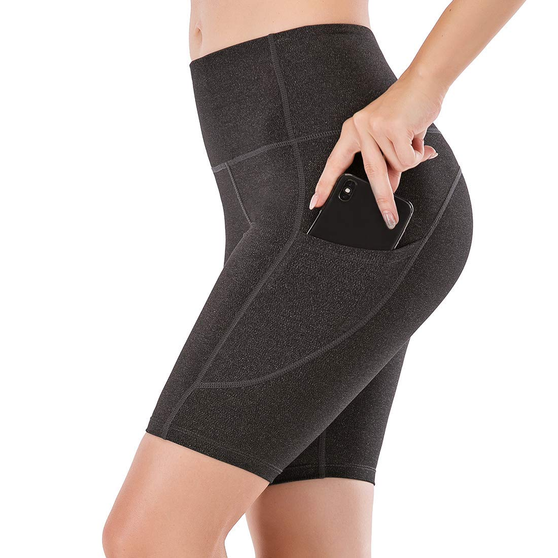 """Lianshp Yoga Shorts with Pockets for Women High Waist Tummy Control Athletic Workout Running Shorts 8"""""""