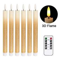 """DRomance LED Flameless Taper Candles Battery Operated with Remote and Timer, Set of 6 Real Wax Warm Light 3D Wick Flickering Window Candles 0.78"""" x 9.64"""" Christmas Home Decoration(Gold Gradient)"""