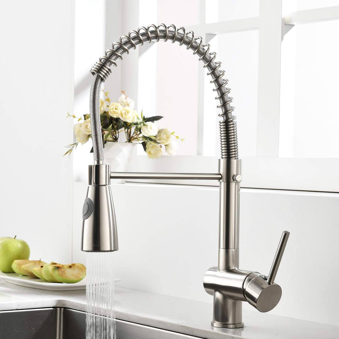 Gimili Commercial Kitchen Faucet With Pull Down Sprayer Single Handle Spring High Arc Pull Out Spray Stainless Steel Kitchen Sink Faucet Brushed Nickel