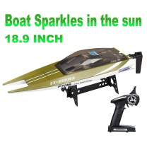 Feilun FT016 Remote Control Boat Watercraft 18.9 Inch RC Race High Speed 30KM/H Auto Water Cool System for Lake Pool Hobbies Boys Adult (Color Randomly Shipped)
