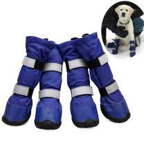 AOFITEE Waterproof Dog Boots Winter Warm Fleece Lined Reflective Pet Shoes, Non-Slip Large Dogs Paw Protector for Pitbull Golden Retriever Labrador Husky - 4 pcs