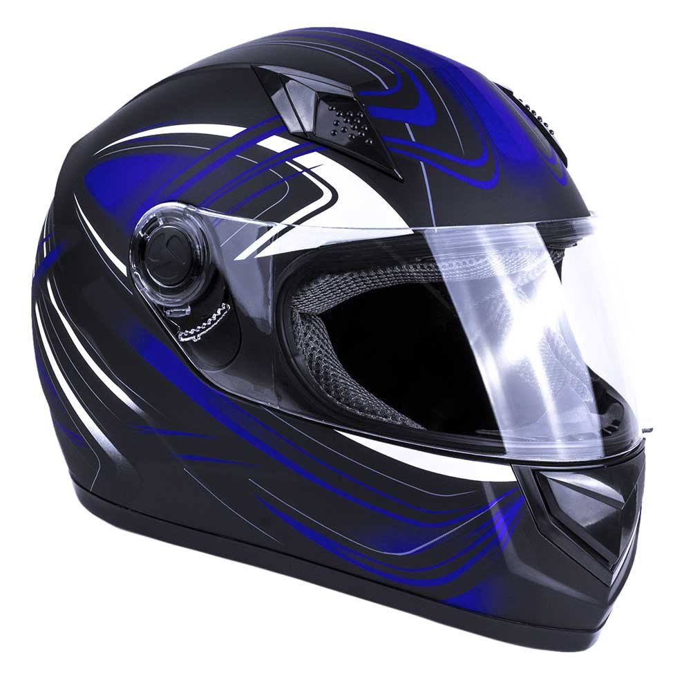Typhoon Adult Full Face Motorcycle Helmet DOT - SAME DAY SHIPPING (Matte Blue, XL)