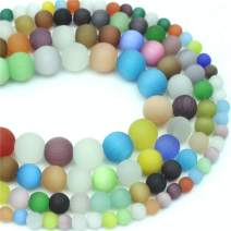 """Oameusa 8mm Frosted Multicolor Cat's Eye Agate Beads Gemstone Round Loose Beads Agate Beads for Jewelry Making 1 Strand 15"""" 1 Strand per Bag-Wholesale"""
