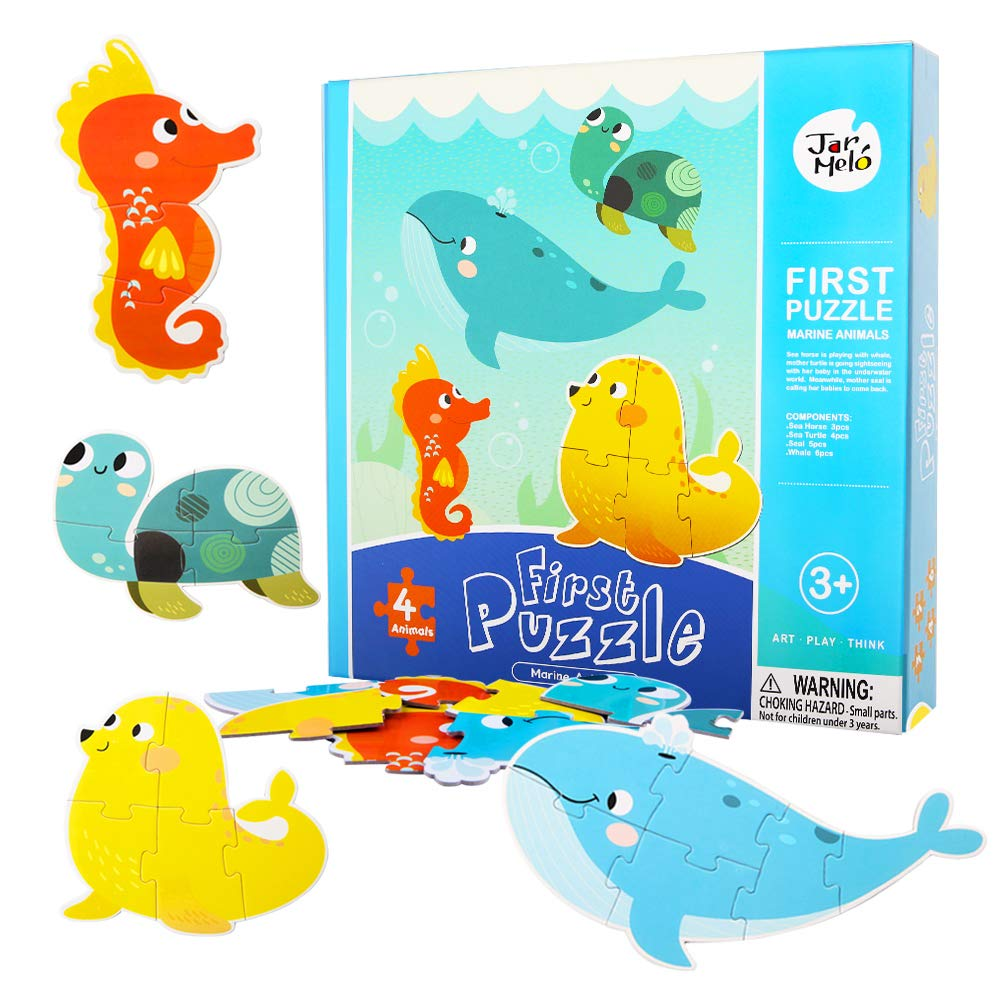 Jar Melo First Puzzle - Marine Animals (4 in 1), 18 Pieces; Jigsaw Floor Puzzle; Large Puzzles for Kids - Baby Puzzles - Kids Puzzles Toys for 2-5 Year Old Kids