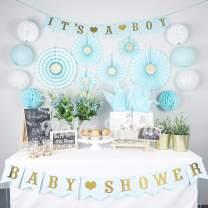 NAHA FLUME Boy Baby Shower Decorations for Boy | 50pc Blue & Gold Its a Boy Baby Boy Shower Decorations | Baby Shower Boy Decorations | Baby Boy Shower Decor | Oh Baby Boy Baby Shower Decorations Boy