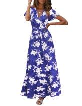 Women Casual Floral Printed Dress Faux V Neck Wrap Short Sleeve Maxi Long Dress with Belt(S-XXL)