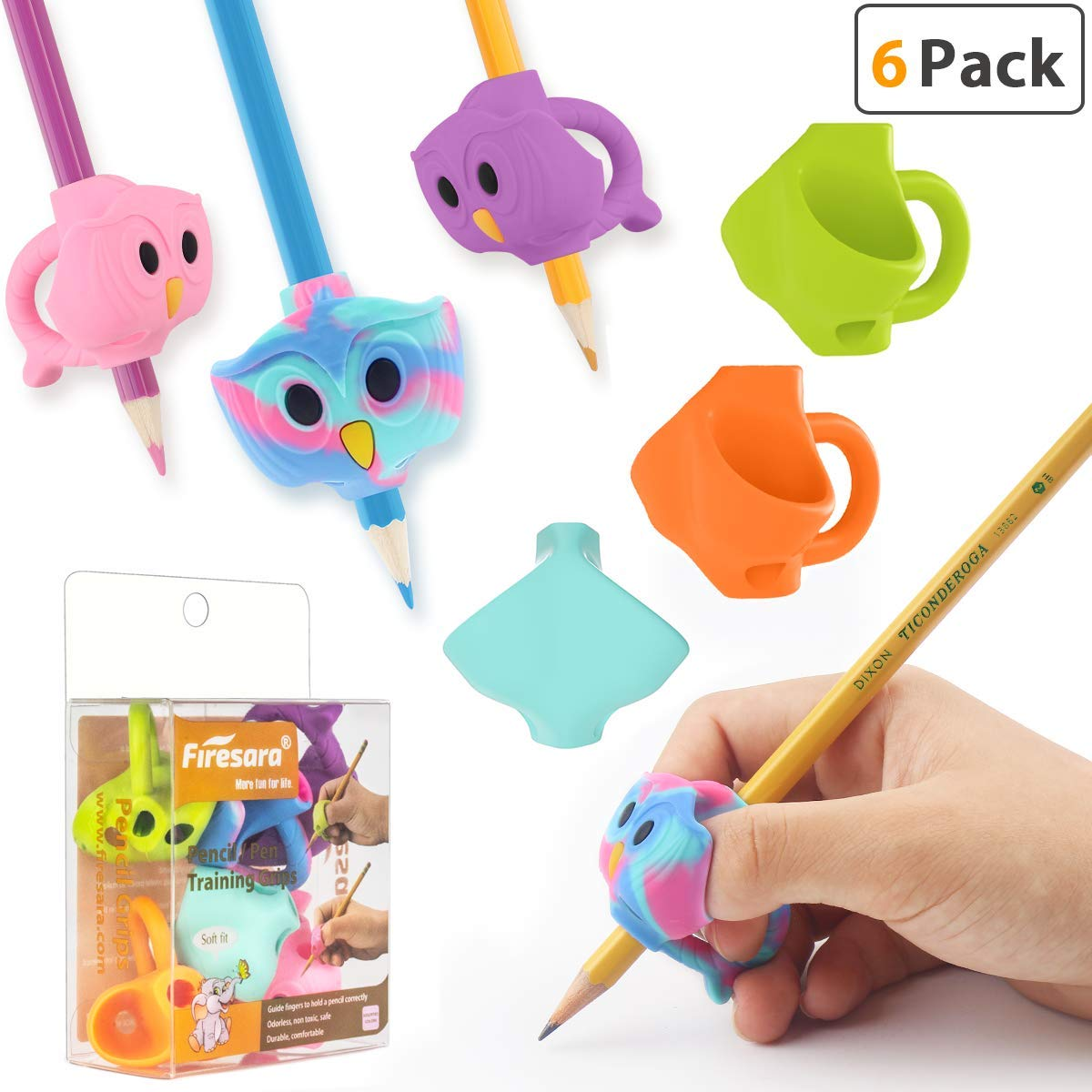 Pencil Grips, Firesara Original Owl Pencil Grips Three Fingers Fixed Pencil Correction Grips for Kids Handwriting Posture Correction Children Adults Special Needs for Lefties or Righties (6PCS)