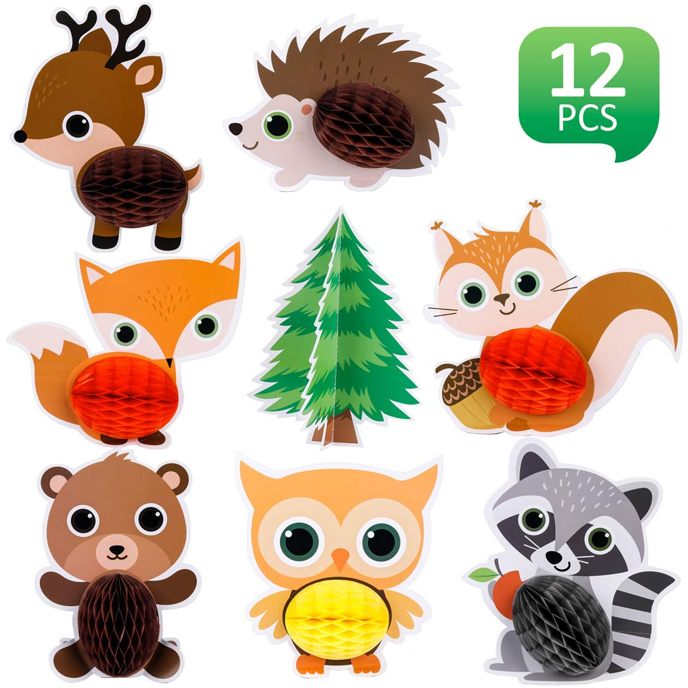 Mocoosy 12PCS Woodland Party Supplies Animals Honeycomb Centerpieces for Table Decorations , Wild Animal Themed Party 3D Center Piece for Kids Birthday Baby Shower Party Supplies