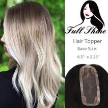 """Full Shine Hair Topper Real Brazilian Human Hairpieces 8 Inch For Hair Loss Women With 6.5X2.25"""" Mono Size Color 10 Brown Fading To 613 Blonde"""