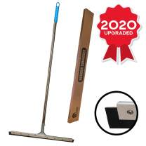 """Floor Squeegee Silicone Rubber Blade Long Handle - Perfect for Washing and Drying Tile, Glass Shower, Garage, Concrete, Marble and Wood Surfaces (23.5"""" Rubber)"""