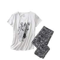 Inadays Sleepwear Womens Short Sleeve Pajama Set Printed Pajama for Women Capri Set Nightwear