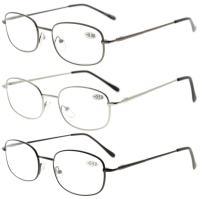 Eyekepper Metal Frame Spring Hinged Arms Reading Glasses 3 Pair Valupac Metal Readers +2.25